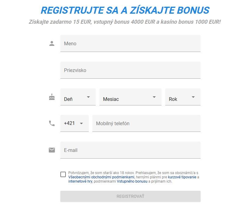 stávková kancelária Tipsport Registračný formulár