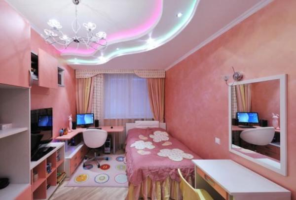 Натяжные двухуровневые потолки для детской фото – фото для ...