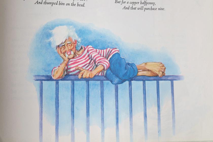 Vintage illustration of old man