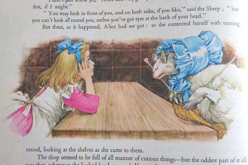Illustration of girl and sheep
