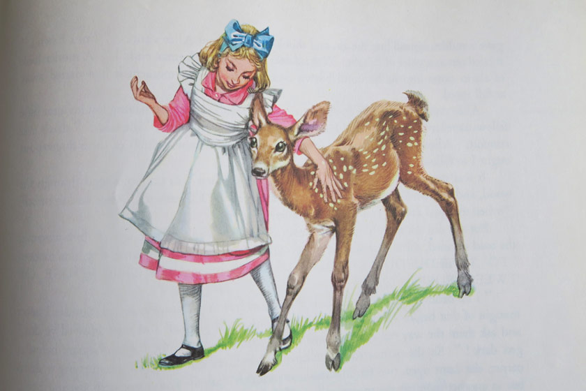 Illustration of Alice with deer