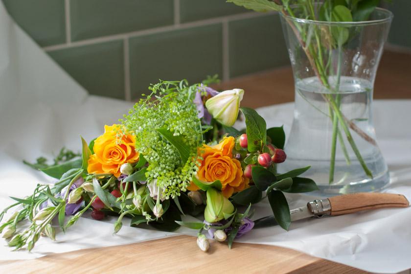 Flowers on worktop