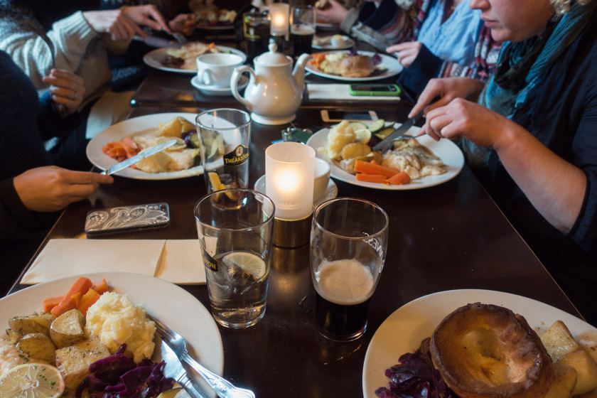 Pub lunches on table