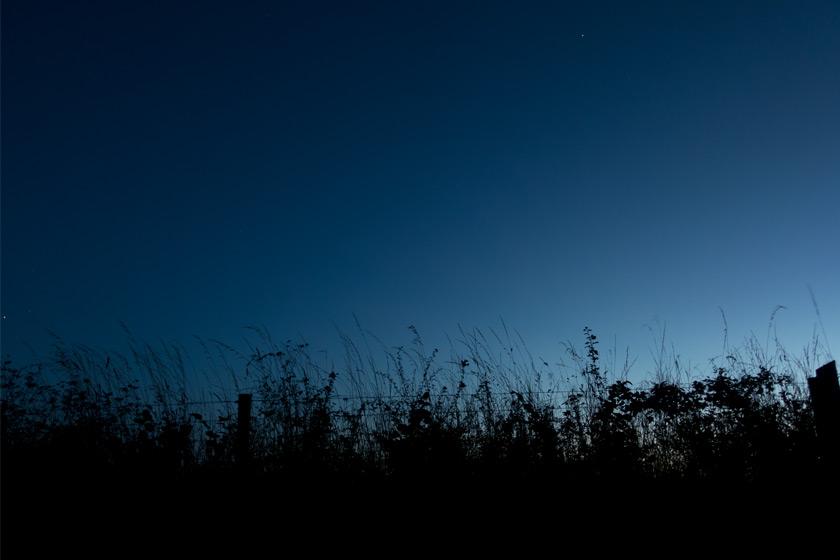 Darkening sky at night