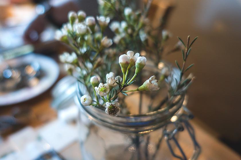 Flowers in kilner jar
