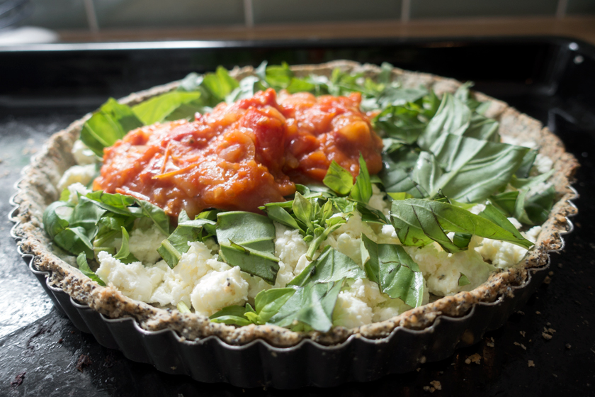 Tomatoes, cheese and basil in pastry