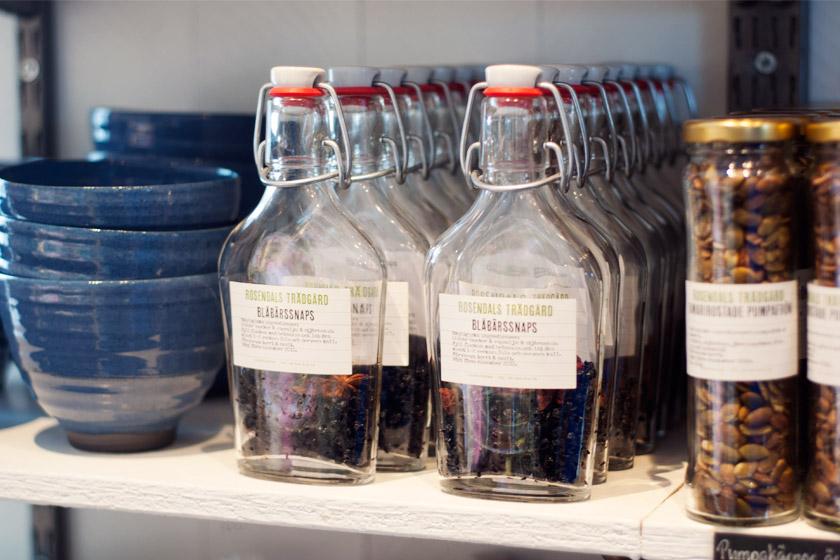 Preserving bottles on shelf