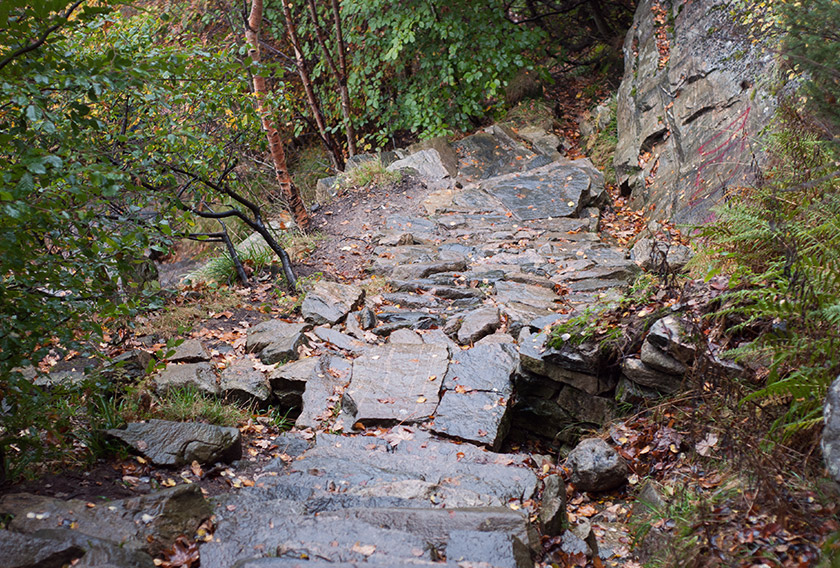 Wet stone steps on moutain