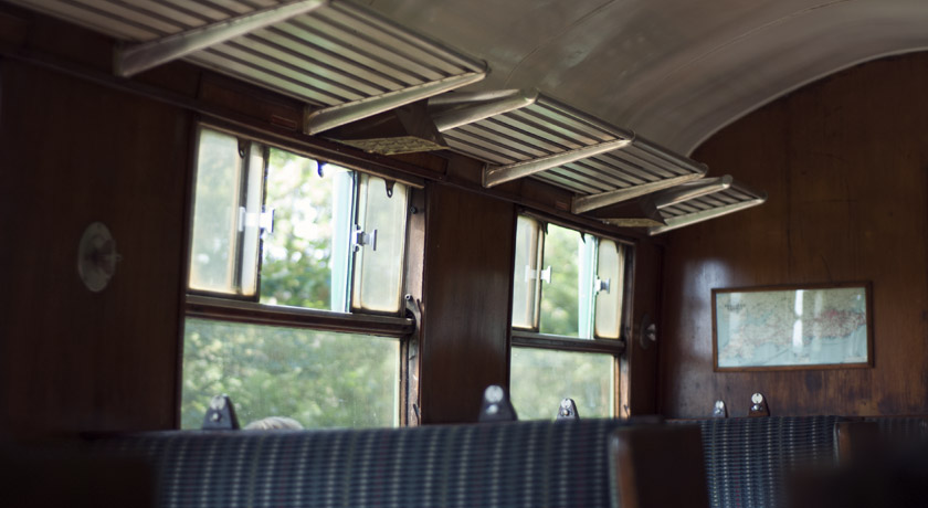 Old train carriage interior