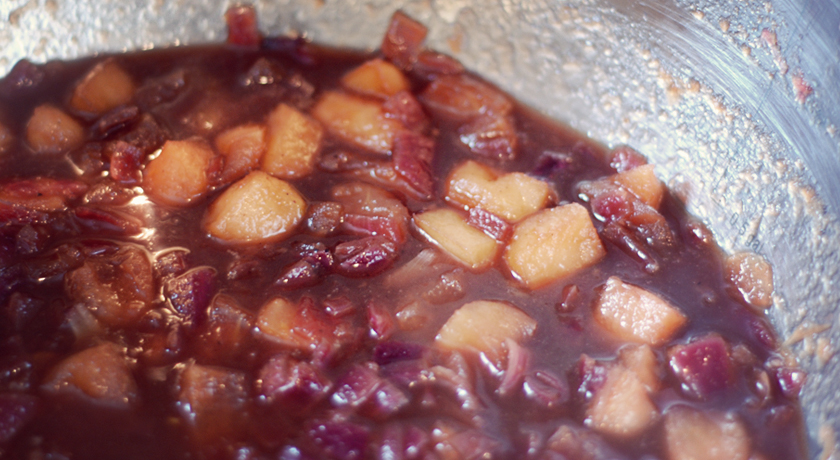 Cooking bramley apple and red onion chutney