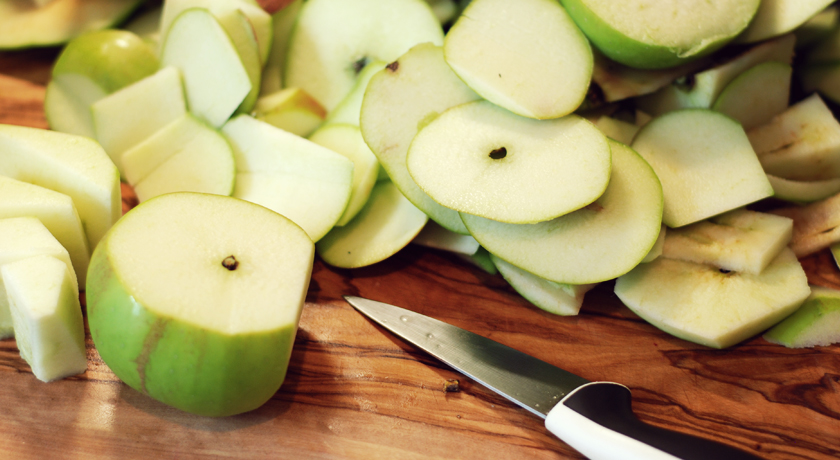 Peeled bramley apples