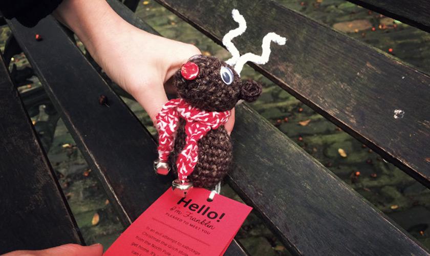 Christmas reindeer yarnbombing