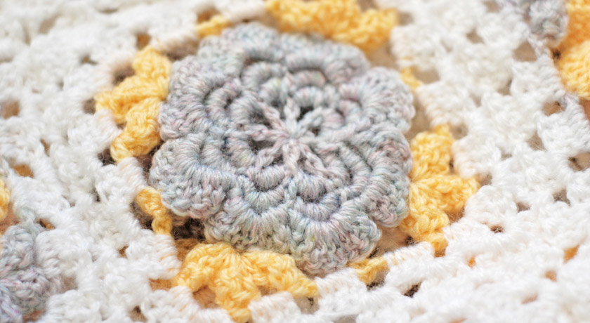 Crochet flower back