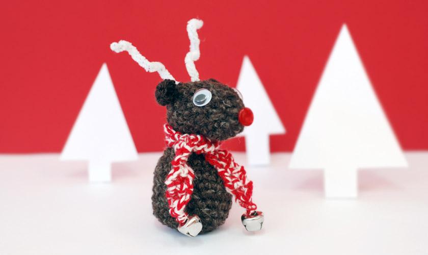 Crochet reindeer with scarf