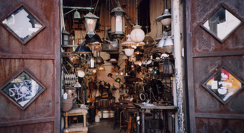 Crowded lamp shop
