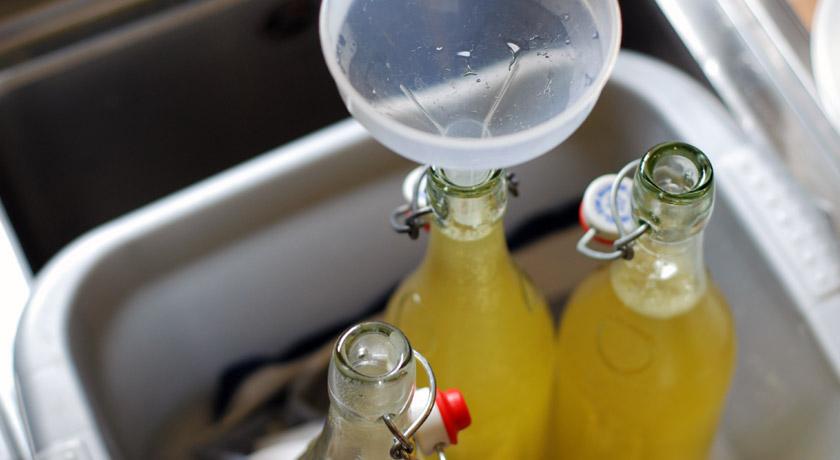 Bottling elderflower cordial with a funnel