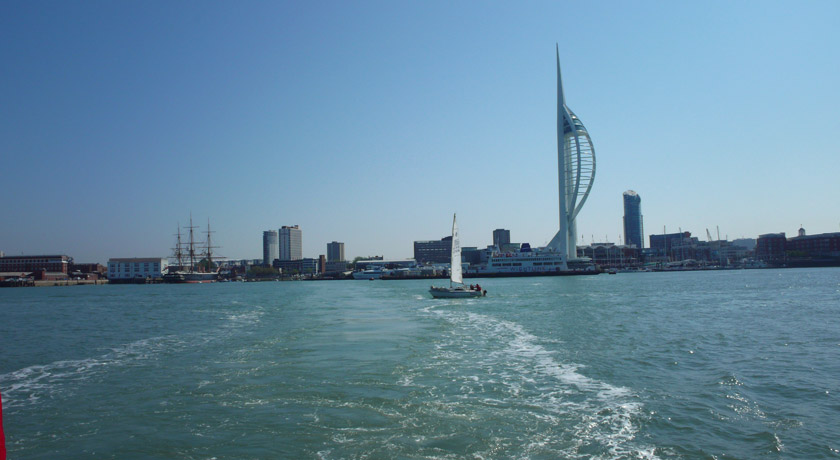 View of Spinnaker tower from the sea
