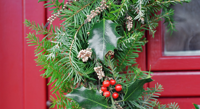 Christmas wreath with holly and heather