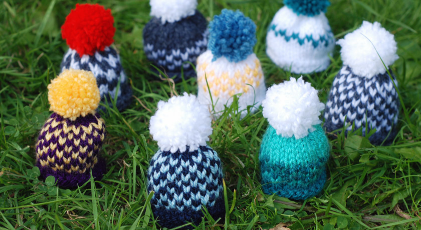 Multicoloured fair isle hats for Innocent's Big Knit