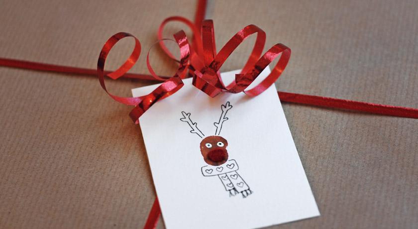 Handmade reindeer Christmas tag