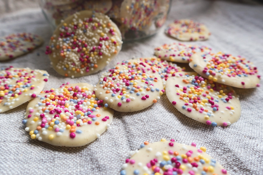 White chocolate with sprinkles