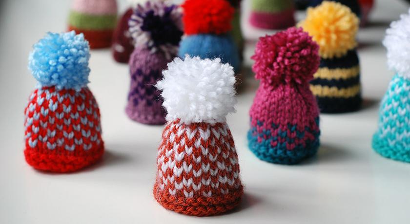 Orange and knitted fair isle hat