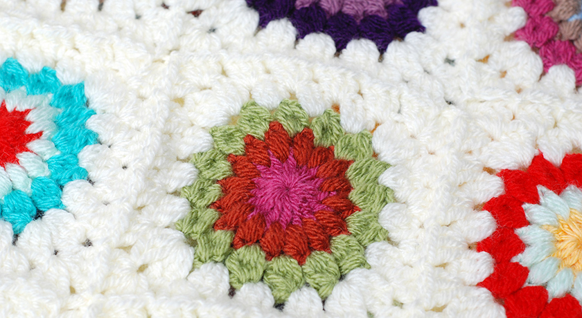 Green, pink and orange granny square detail