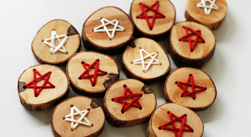 Red and white star embroidered buttons