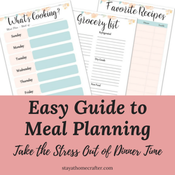 Eliminate the nightly stress dinnertime creates. This easy guide walks you through the steps to get started meal planning. Meal planning is a great tool for reducing stress, saving money and eating healthier! Includes free meal planning printables. Repin now for later!