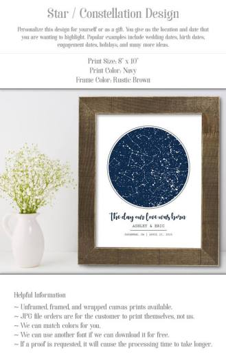 The perfect Valentines Day gift idea for him. A beautiful persaonlized star map from a special date in your relationship.