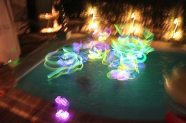 Glow sticks in the pool