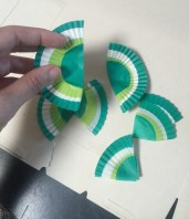 Cut papers in half then half again