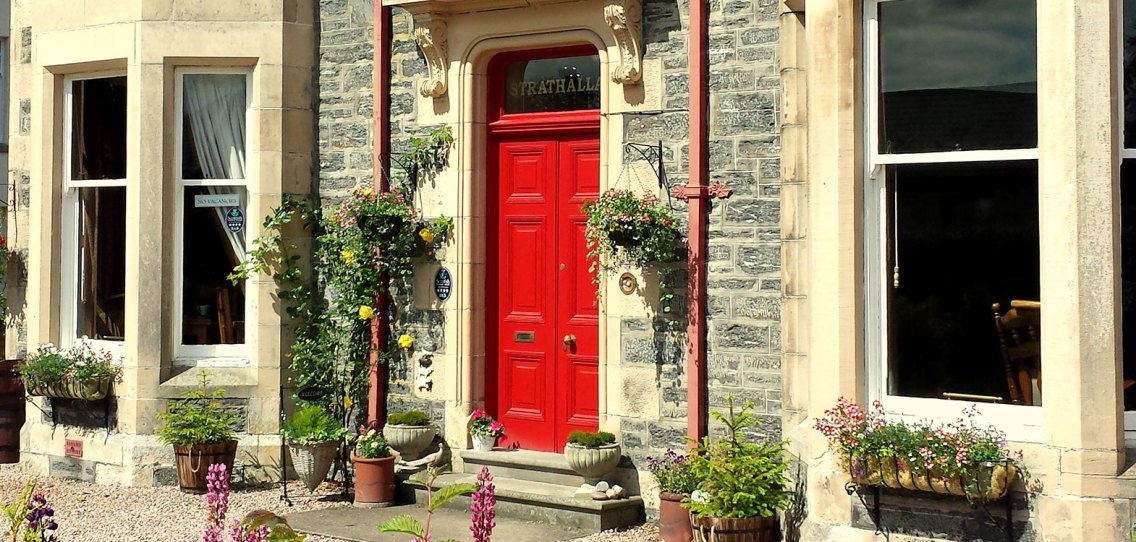 Red front door of Strathallan Guest House flanked by shrubs and flowers