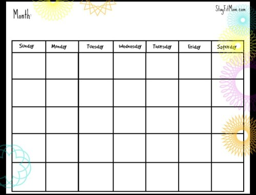 Free Monthly Calendar Printable.