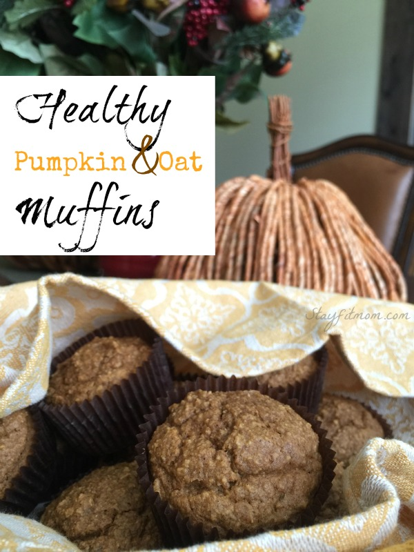 Gluten free, healthy pumpkin oatmeal muffins! These are perfect for breakfast or a healthy snack.