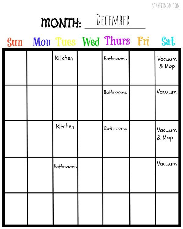 Print a Blank Monthly Chore Calendar