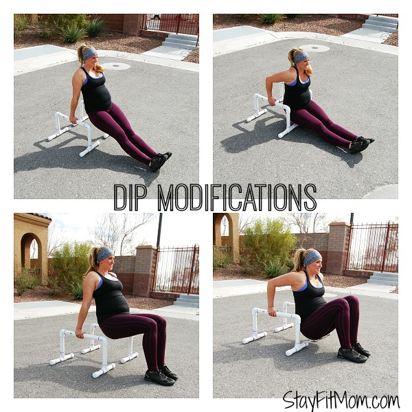 Modifying dips to build strength or for pregnancy.