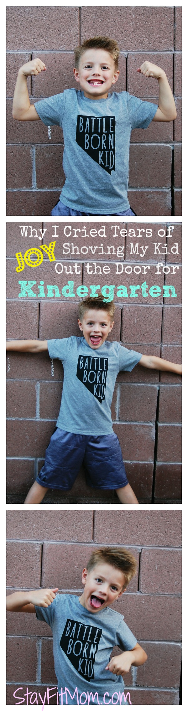 Tears of joy on the first day of Kindergarten from StayFitMom.com.