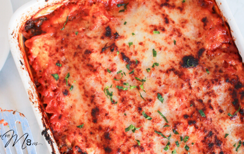 Gluten Free vegetable lasagna your whole family will love! Packed with extra protein too! #stayfitmom #glutefreerecipe #dinnerrecipe