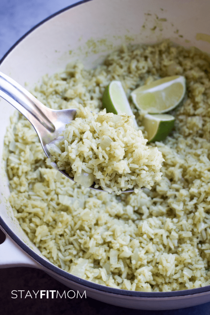 Easy copycat Cafe Rio cilantro lime rice to add to taco night! #stayfitmom #easyrecipe #rice #caferio