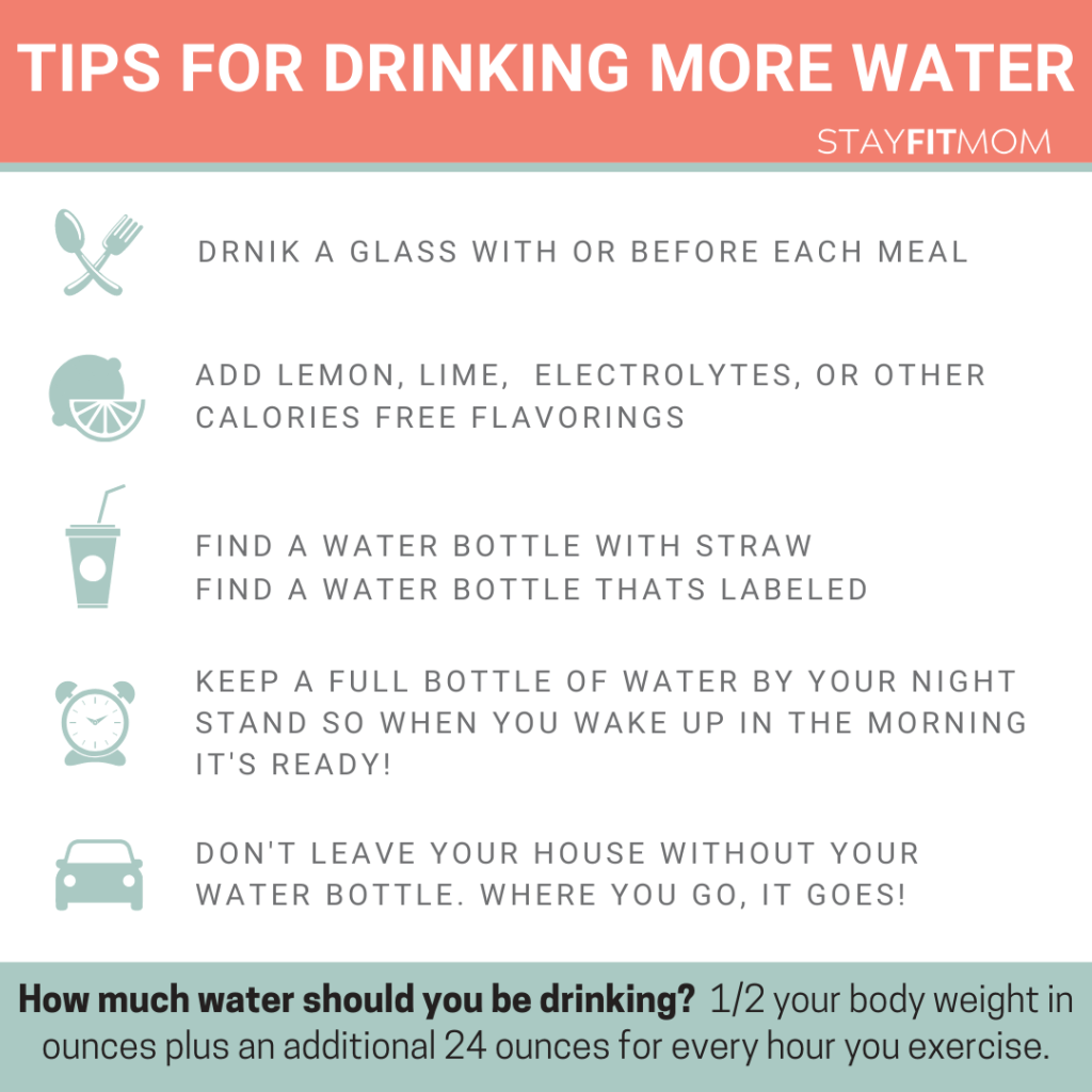 tips for drinking more water and how much to drink each day #stayfitmom #water