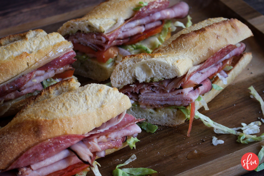 Simple Italian Baguette Sandwich recipe packed with protein and macro friendly. #stayfitmom #recipe #italianrecipe #baguette