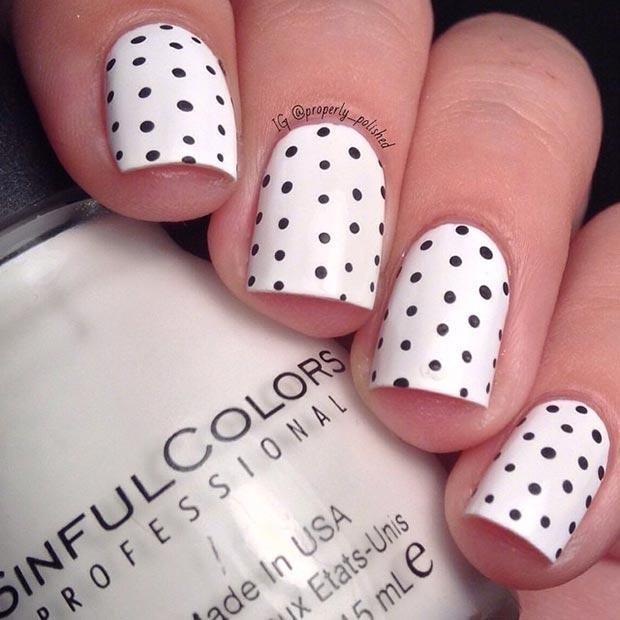 Black And White Polka Dot Nail Design