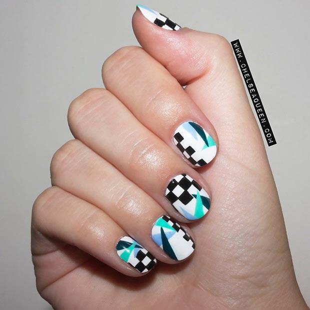 Prev Next Glitter Nail Simple Black White Designs For Short Nails