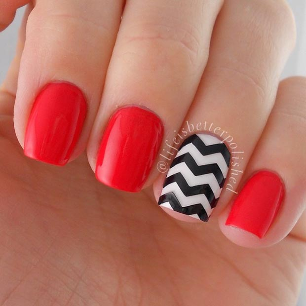Red And Black Nails With Dots