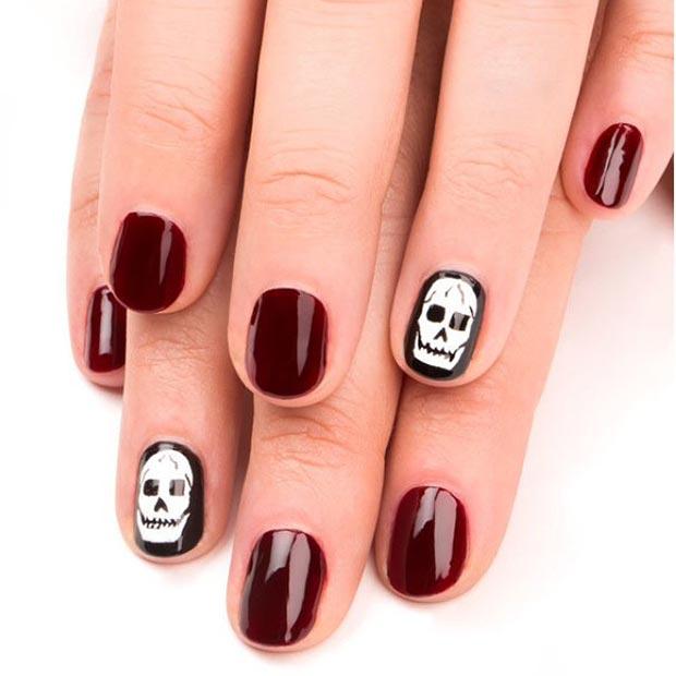 Trendy Dark Red Nail Art