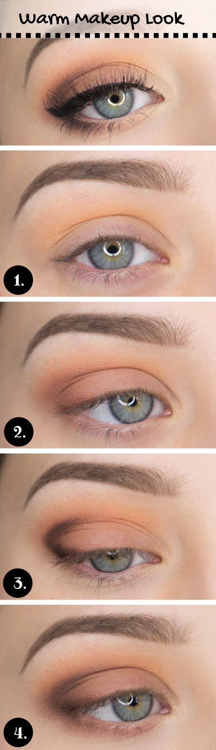 Warm Makeup Look for Blue Eyes