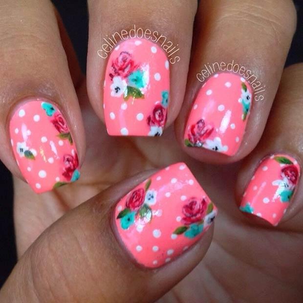 Multicolored Spring Flowers Nail Art Idea