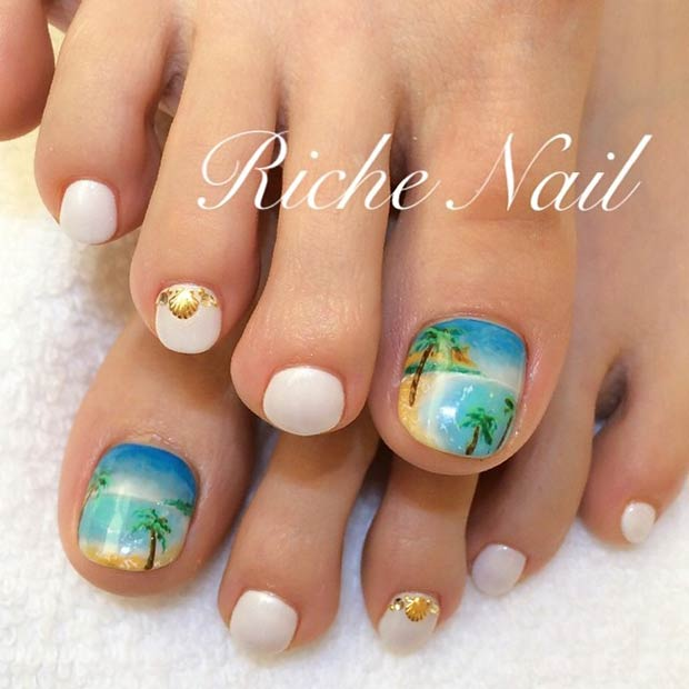 You Can Bring Out The Artist Within With This Wisely Drawn Sunset On Beach Nail Art Design Might Have A Cute By When