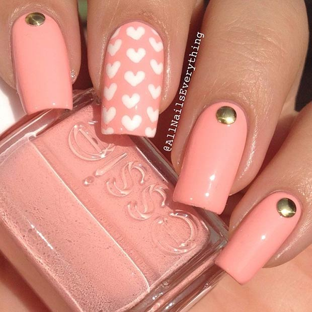 Simple Heart Nail Design for Valentines Day
